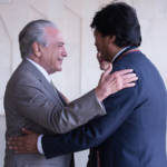Michel Temer und Evo Morales Die Präsidenten von Brasilien und Bolivien, Michel Temer und Evo Morales. Ein Bilaterales Abkommen zwischen den beiden Ländern soll kriminelle Gruppen an der Expansion hindern. | Bild (Ausschnitt): ©  Michel Temer [CC BY 2.0]  - Flickr