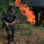Kolumbianischer Polizist bei der Zerstörung eines Drogennlabors.   Bild (Ausschnitt): © Policia Nacional de los colombianos [CC BY-SA 2.0]  - flickr