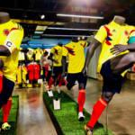 Kolumbien Fußball Trikot WM Das Heimtrikot der kolumbianischen Nationalmannschaft bei der WM in Russland.   Bild (Ausschnitt): ©  F Delventhal [CC BY 2.0]  - Flickr